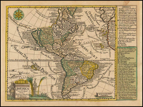 63-California as an Island and America Map By Johann George Schreiber
