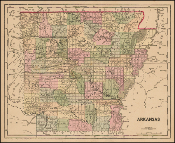 25-South and Arkansas Map By Sidney Morse  &  Samuel Breese