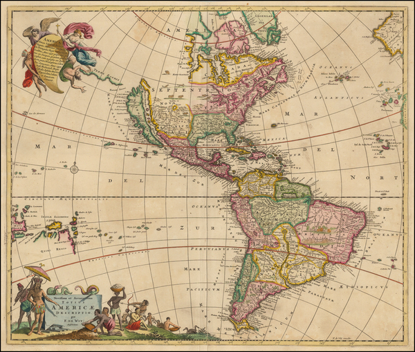 43-Western Hemisphere, South America and America Map By Frederick De Wit