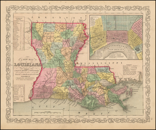 90-South, Louisiana and New Orleans Map By Charles Desilver
