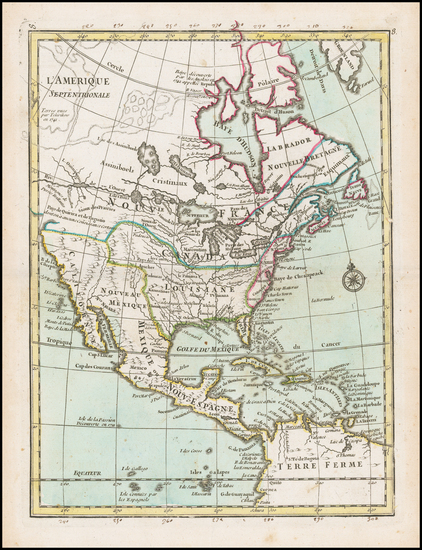 North America Map By Georges Louis Le Rouge