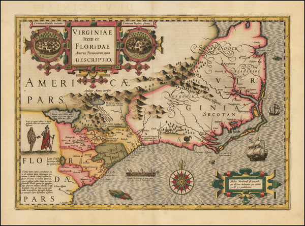 68-Mid-Atlantic and Southeast Map By Jodocus Hondius