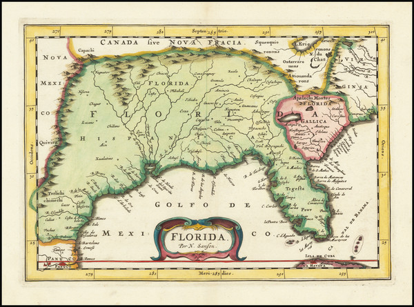 Florida, South and Southeast Map By Joannes Zunners