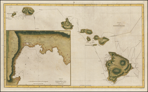 75-Hawaii and Hawaii Map By James Cook