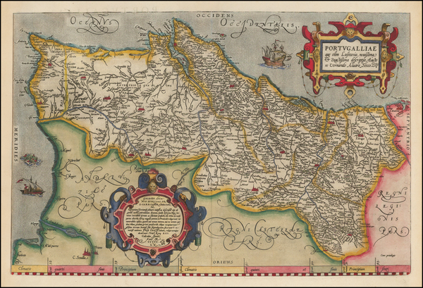 91-Portugal Map By Abraham Ortelius