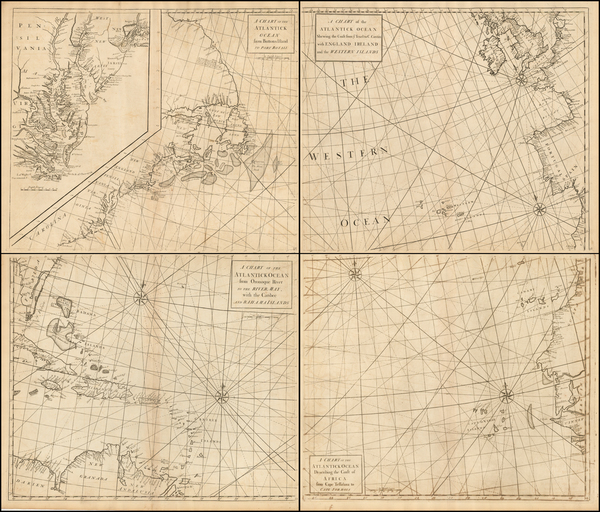 35-Atlantic Ocean, Mid-Atlantic, Southeast, South America and America Map By John Senex / Edmund H