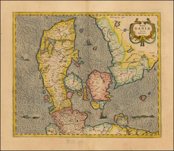 98-Denmark Map By Henricus Hondius / Jan Jansson