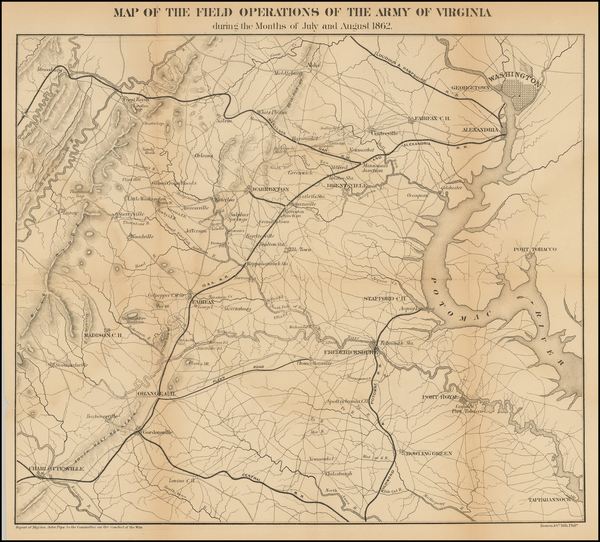 91-Washington, D.C., Virginia and Civil War Map By U.S. War Department