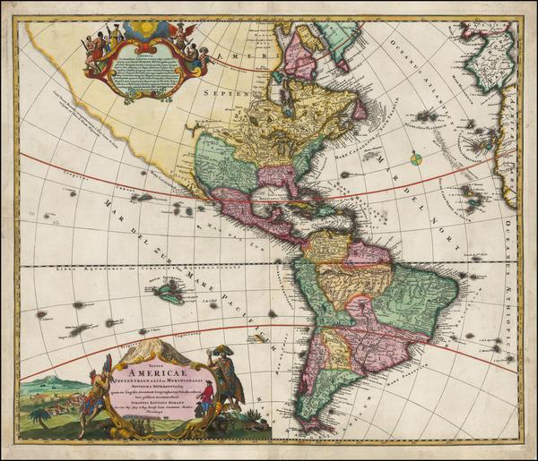 66-America Map By Johann Baptist Homann