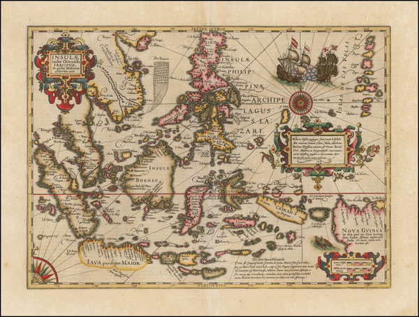 80-Southeast Asia, Philippines, Indonesia and Malaysia Map By Jodocus Hondius