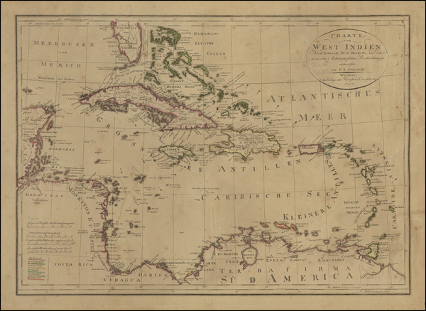 70-Southeast, Caribbean and Central America Map By Franz Ludwig Gussefeld
