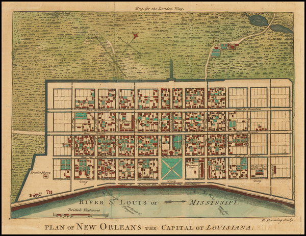 82-South and Louisiana Map By London Magazine