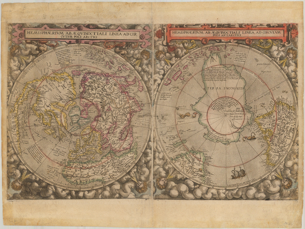 88-World, Northern Hemisphere and Southern Hemisphere Map By Cornelis de Jode