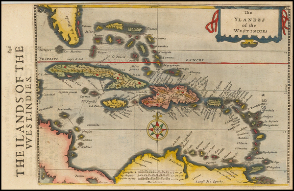 75-Caribbean Map By Henricus Hondius