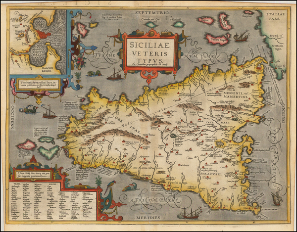 21-Italy, Balearic Islands and Sicily Map By Abraham Ortelius