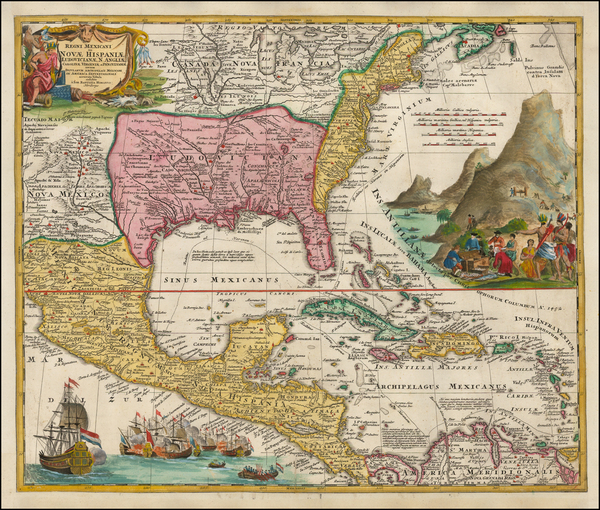 47-United States, South, Southeast, Texas, Midwest and Caribbean Map By Johann Baptist Homann