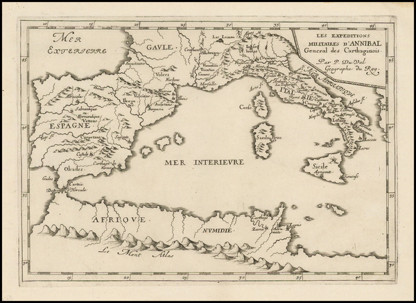 59-Italy, Spain and Mediterranean Map By Pierre Du Val