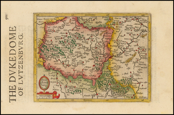 6-Luxembourg Map By Henricus Hondius - Gerhard Mercator