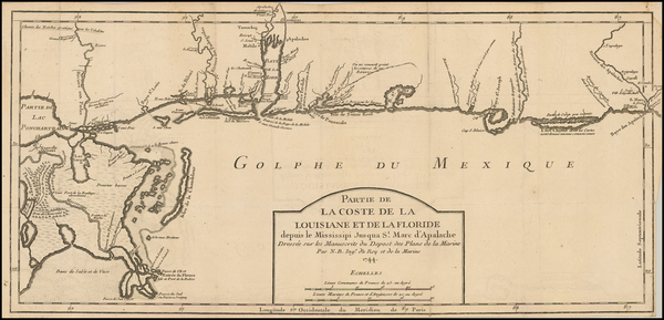19-South and Louisiana Map By Jacques Nicolas Bellin