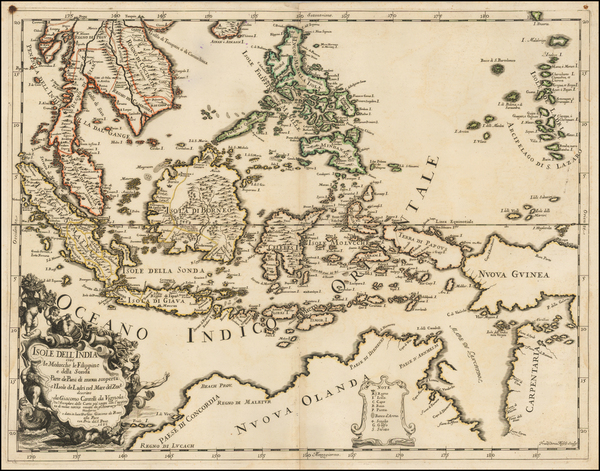 Southeast Asia, Philippines, Indonesia and Australia Map By Giacomo Giovanni Rossi - Giacomo Cantelli da Vignola
