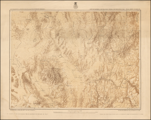70-Southwest, Nevada, Rocky Mountains and Utah Map By George M. Wheeler