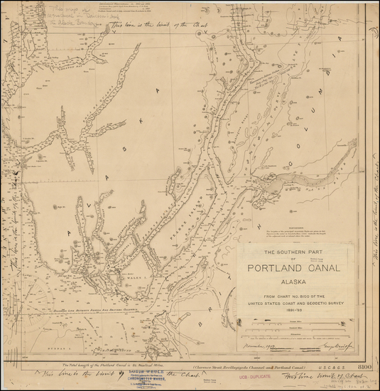 87-Alaska Map By U.S. Coast & Geodetic Survey / George Davidson