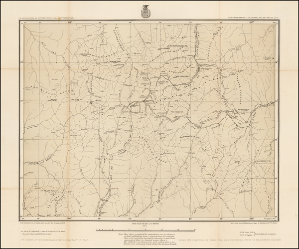 93-Southwest, Rocky Mountains and Colorado Map By George M. Wheeler
