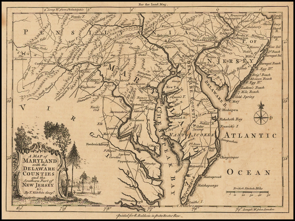 55-Mid-Atlantic, Maryland, Delaware and Southeast Map By London Magazine