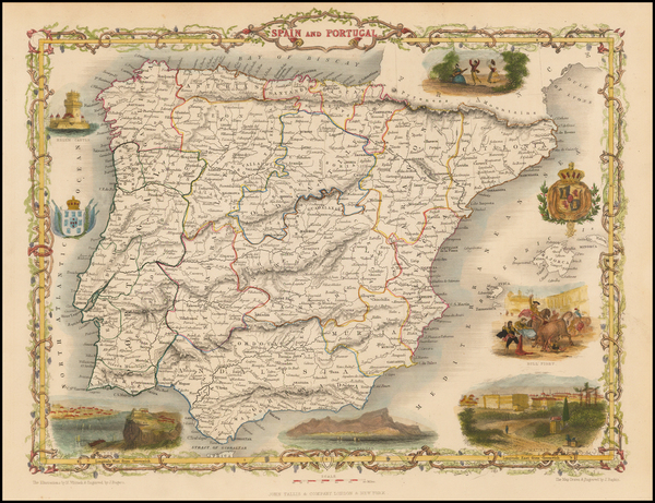 3-Spain and Portugal Map By John Tallis