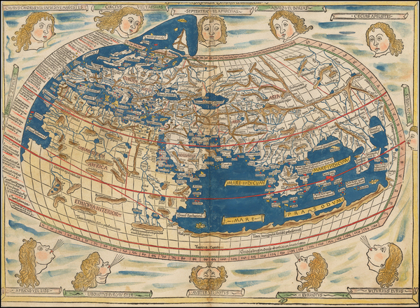 0-World and World Map By Claudius Ptolemy / Lienhart Holle