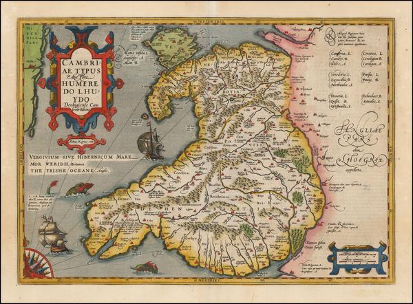 87-Wales Map By  Gerard Mercator
