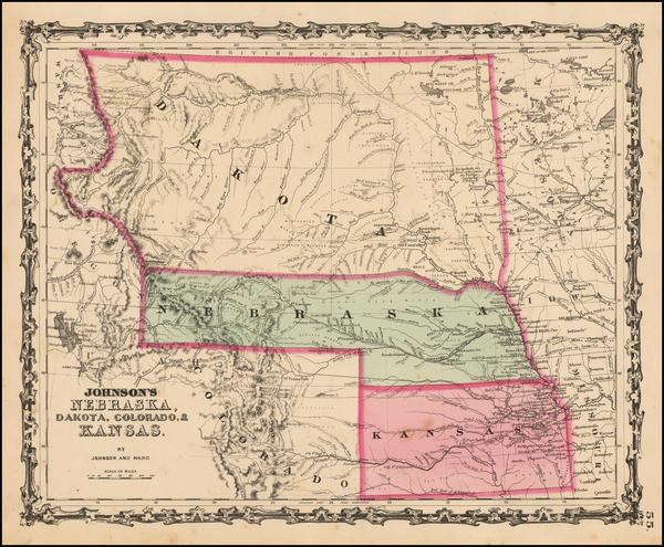 65-Plains, South Dakota and Rocky Mountains Map By Benjamin P Ward  &  Alvin Jewett Johnson