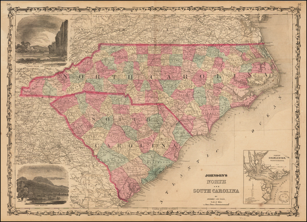 79-Southeast, North Carolina and South Carolina Map By Benjamin P Ward  &  Alvin Jewett Johnso