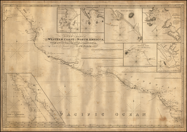 Mexico and Baja California Map By John William Norie