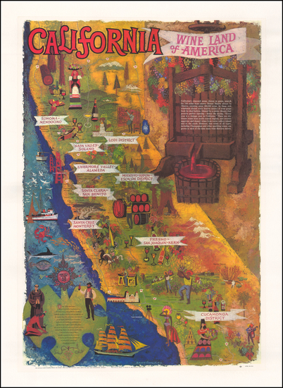 2-Pictorial Maps and California Map By Amado Gonzales