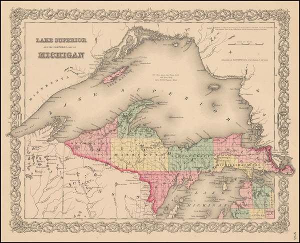 41-Midwest and Michigan Map By Joseph Hutchins Colton