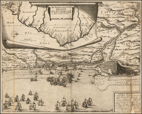 81-Brazil Map By Theodor De Bry / Matthaeus Merian