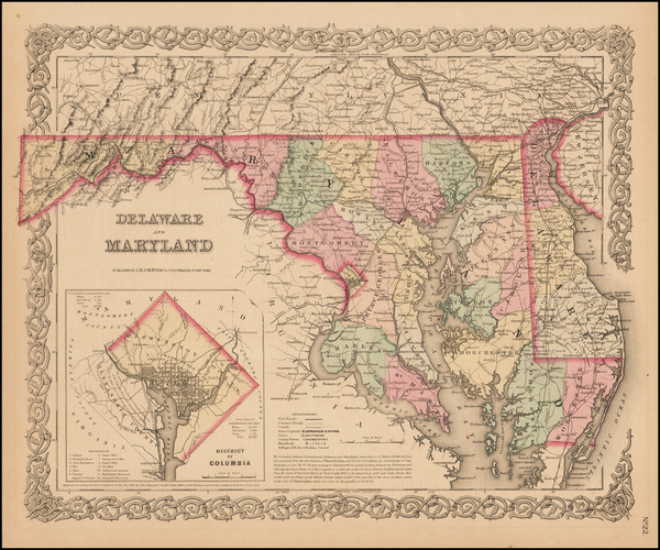 9-Washington, D.C., Maryland and Delaware Map By Joseph Hutchins Colton