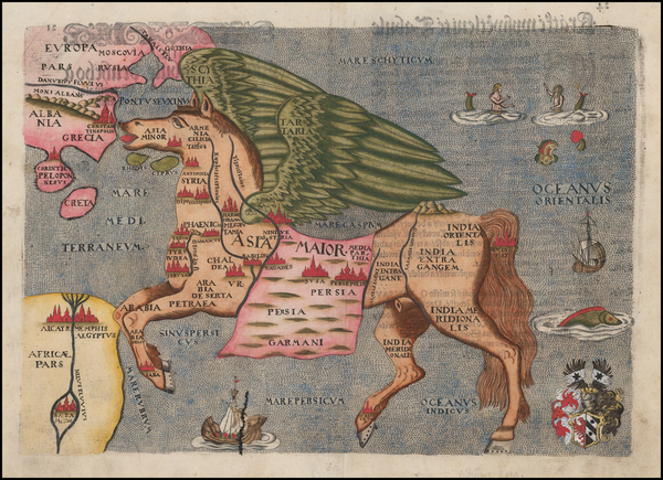 72-Asia, Asia, China, Southeast Asia, Curiosities and Comic & Anthropomorphic Map By Heinrich