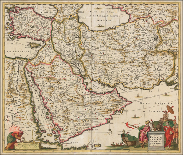 32-Central Asia & Caucasus, Middle East and Persia Map By Frederick De Wit