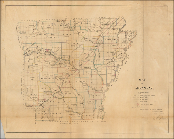 45-South and Arkansas Map By U.S. General Land Office