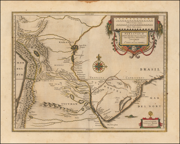 81-Argentina, Chile, Brazil, Paraguay & Bolivia and Uruguay Map By Willem Janszoon Blaeu