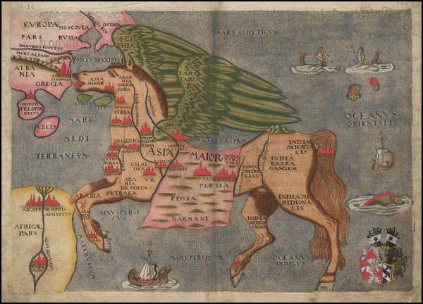 78-Asia, Asia, China, Southeast Asia, Curiosities and Comic & Anthropomorphic Map By Heinrich