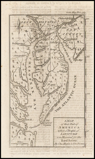 86-Mid-Atlantic, Maryland, Delaware and Southeast Map By Gentleman's Magazine