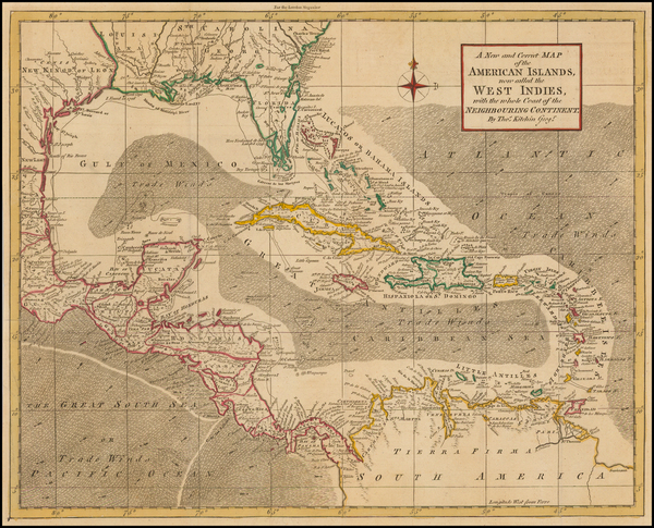 70-South, Southeast, Texas and Caribbean Map By Thomas Kitchin / London Magazine