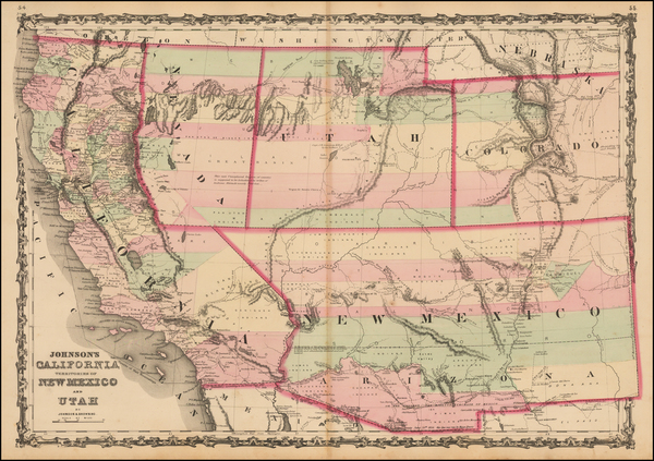 99-Southwest, Nevada, Rocky Mountains and California Map By Alvin Jewett Johnson  &  Browning