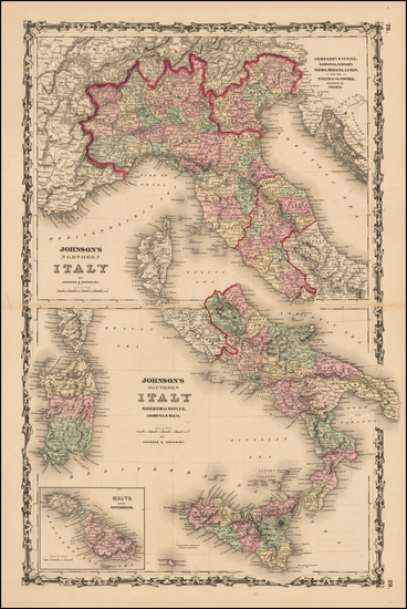 32-Italy Map By Alvin Jewett Johnson  &  Browning