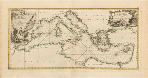 96-Mediterranean and North Africa Map By Rigobert Bonne / Jean Lattre