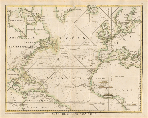 Atlantic Ocean and North America Map By Jean Lattre