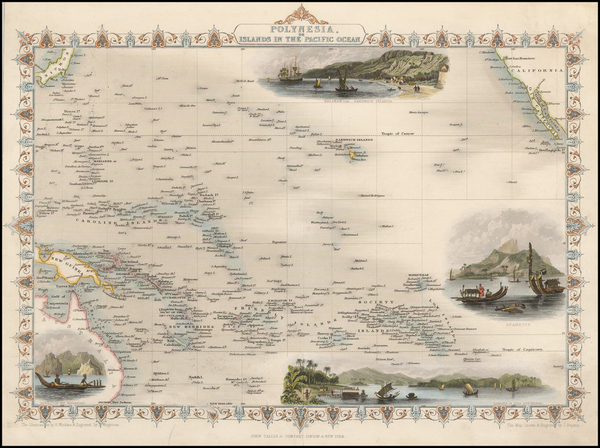 60-Pacific, Oceania, Hawaii and Other Pacific Islands Map By John Tallis